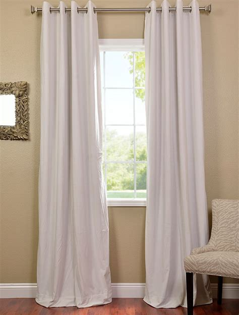 white grommet velvet blackout curtain contemporary