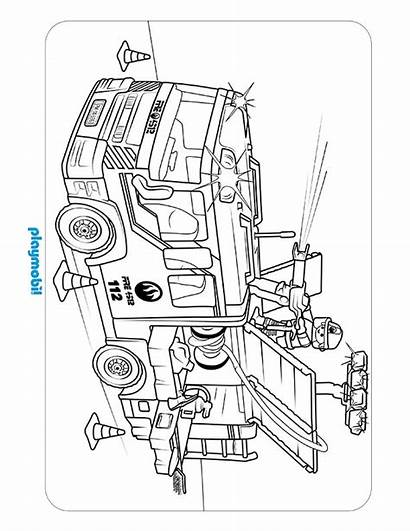 Playmobil Coloring Action Firebrigade Sheet