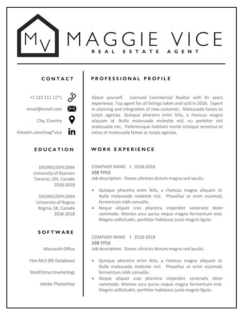 Real Estate Resume Templates by Realtor Resume Cv Template Design Real Estate Resume Cv