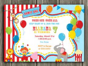 blank ornaments to personalize circuscarnival birthday photo invitation printable