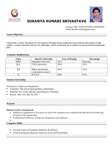mba resume format