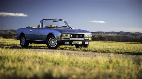 Full Hd Wallpaper Peugeot Cabriolet Retro Field Grass