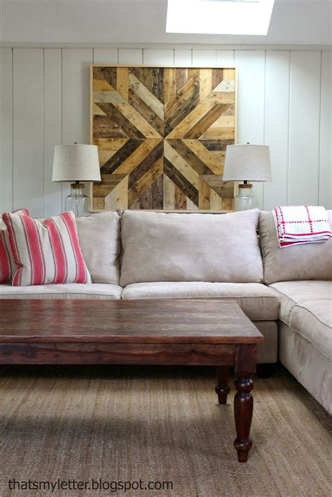 diy pottery barn planked wood quilt square         family room
