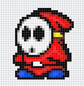 Mario Shy Guy Chart Pixel Art Perler Bead Video Game