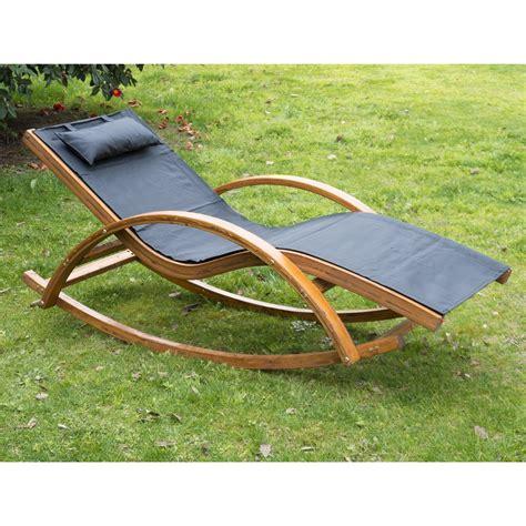 Recliner Chairs Garden by Outsunny Wooden Garden Recliner Rocker Lounger Ideal