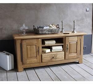 Meuble Tele Haut : meuble tele chene massif 3843 ~ Teatrodelosmanantiales.com Idées de Décoration
