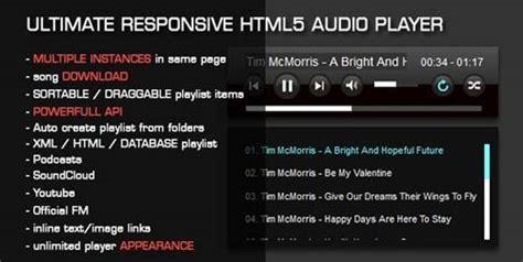 crear un templates con listas de audio alternativas de reproductor de audio html5