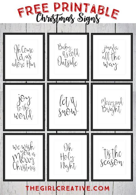 Free Printable Christmas Signs  The Girl Creative
