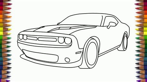 draw dodge challenger rt scat pack step  step