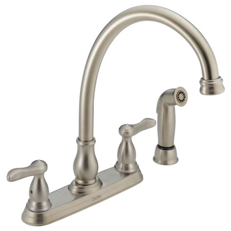 delta lahara faucet canada 2457 ss two handle kitchen faucet with spray