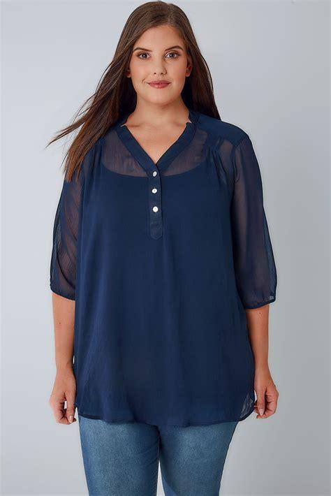 sheer chiffon blouse navy sheer chiffon button up blouse with 3 4 length