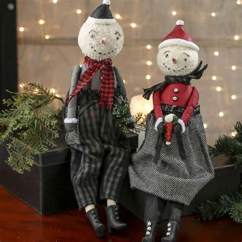 vintage inspired paper clay snowmen shelf sitters table
