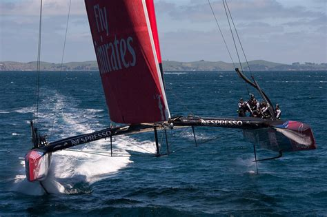 Catamaran Yacht Racing by America S Cup 2013 Emirates Team New Zealand Aerials Of
