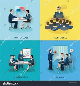 Conference Design Concept Set Master Class Stock Vector ...