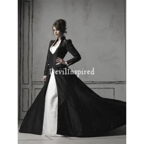 black and white long sleeves gothic wedding dress 1920525