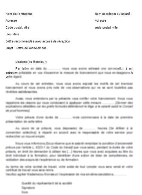 modèle de fiche de procédure administrative sle cover letter exemple de lettre de licenciement