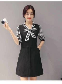 dress hitam stripes pita cantik  jual model
