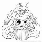 Chibi Cupcake Chica Colorear Coloring Dibujo Dibujos Yampuff Chicas Categorias sketch template