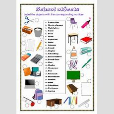 School Objects Interactive Worksheets