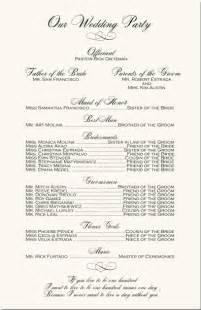 Wedding Program Ceremony Order