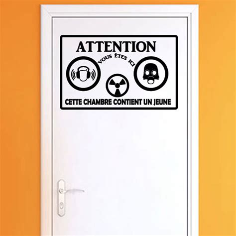 stickers pour porte de chambre sticker porte citation attention cette chambre stickers