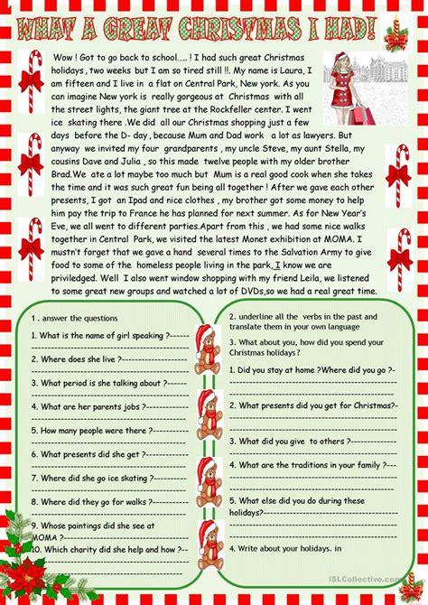 great christmas   reading worksheet