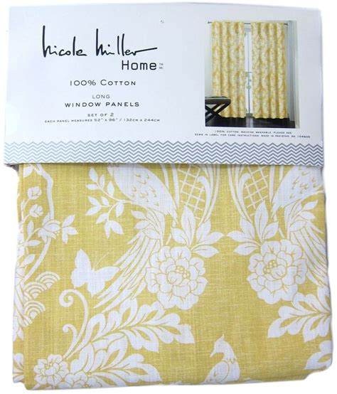 Miller Home Two Curtain Panels by Miller Yellow Japanese Bird Window Curtain Panel