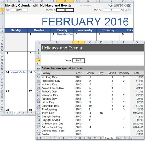 monthly calendar holidays excel