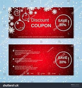 Christmas And New Year Discount Coupon Vector Template ...
