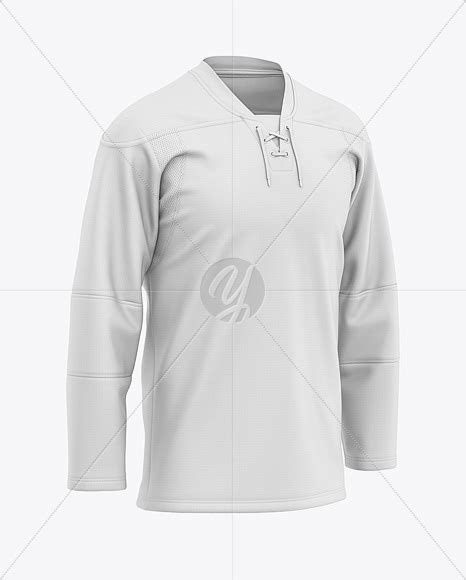 If you like this mockup, please post reviews. Men's Lace Neck Hockey Jersey Mockup - Front Half-Side ...