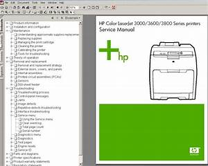 Hp Color Laserjet 3000  3600  3800 Series Printers Service Manual  Parts And Diagrams