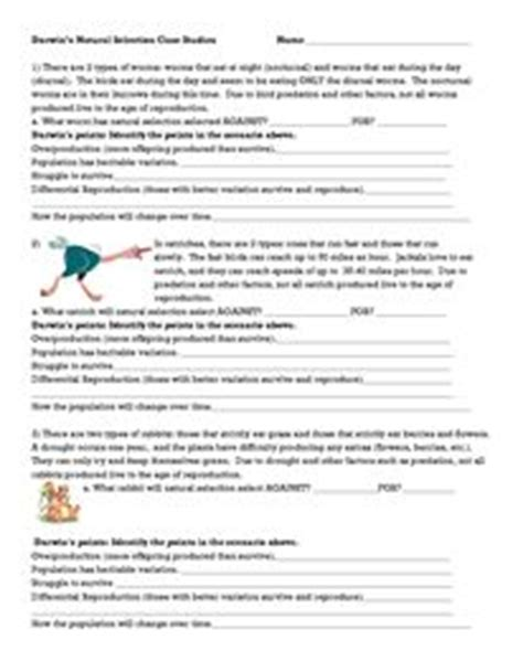 darwins selection worksheet darwin selection worksheet classroom