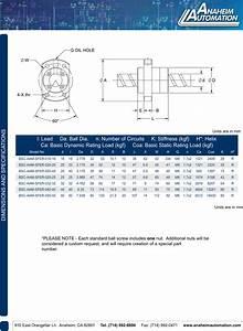 L011049 Sfe Ball Screw Spec Sheet