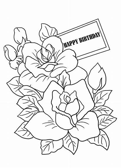 Coloring Birthday Happy Flowers Sheet Mothers Printable