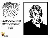 Harrison Coloring Presidents Pages William President Yescoloring Fierce Tyler John America Usa sketch template