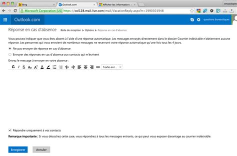 mail absence maladie bureau outlook cr 233 er un message d absence automatique sous outlook