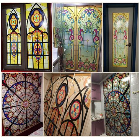 Decorative Window Stained Glass - vintage flowers stained glass decorative window cling