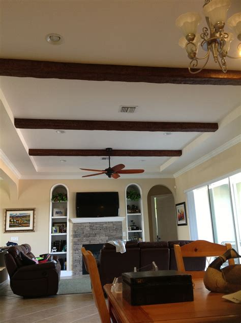 adding a ceiling fan to a room alcove ceiling gets a fresh new look faux wood workshop