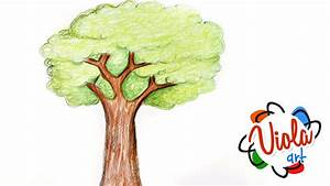 How to draw a Tree Pencil Color Drawing Tutorial for Kids ...