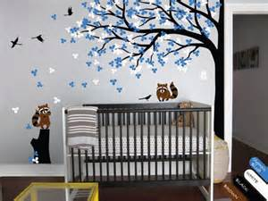 nursery wall tree decal raccoon corner tree mural vinyl sticker kr032 happyplace on artfire