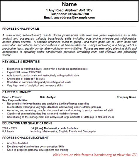 data analyst cv exle forums learnist org