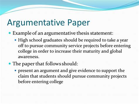 Writing Argumentative Thesis by Writing A Thesis Statement High School