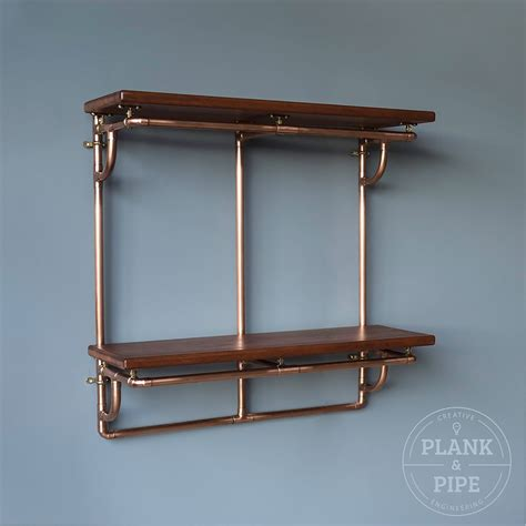 copper pipe shelving unit  tier plank pipe
