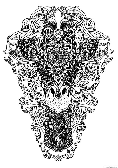Advanced Animal Head Of A Giraffe Coloring Pages Printable
