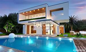 Belle Maison Moderne : belle maison moderne d 39 architecte avec piscine avec clairage de nuit photo libre de droits ~ Melissatoandfro.com Idées de Décoration