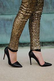 Black Sequin Pants Leggings