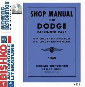 1940 Dodge Shop Service Repair Manual Cd Engine Drivetrain