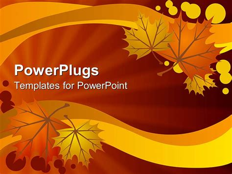powerpoint template abstract autumn leaves  warm