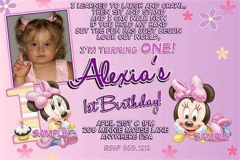 minnie mouse st birthday invitations printable digital file