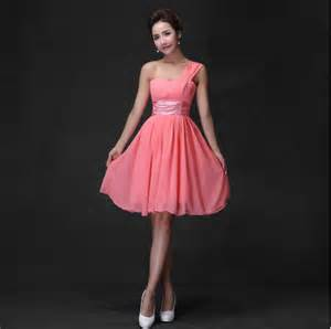 coral colored bridesmaid dresses aliexpress buy coral colored bridesmaid dresses chiffon one shoulder color